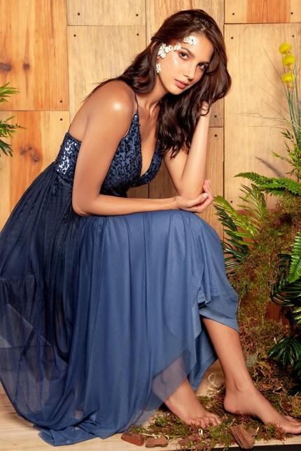Уникална бална дълга рокля регулируеми презрамки (R9848)