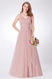 Нежна официална рокля с широк колан в светло бежово (R99005)