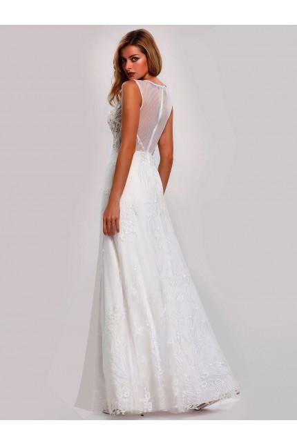 Възхитителна дълга сватбена рокля с 3D-дантела (R99010)