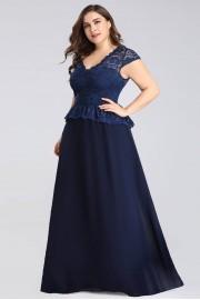 Елегантна дълга официална рокля в тъмно синьо с дантелена горна част (R99034)
