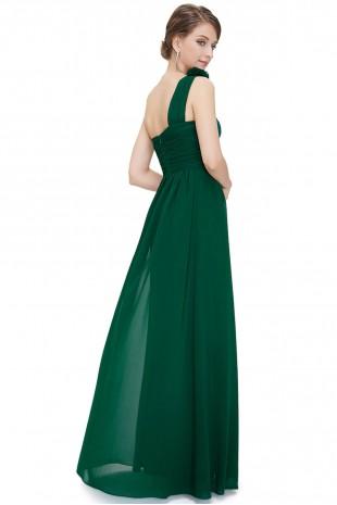 Разкошна дълга рокля в зелено с една презрамка (R99035)