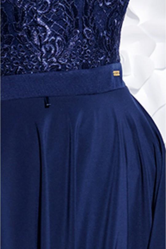 Феерична асиметрична официална рокля в тъмно синьо (RO99040)