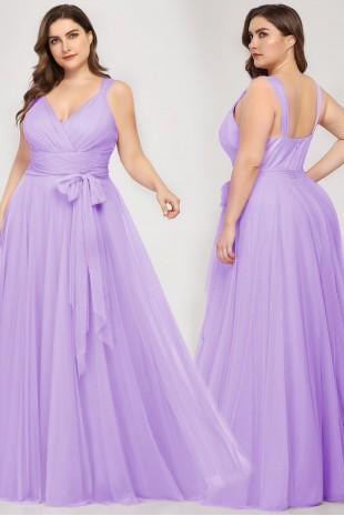 Нежна официална рокля с дълъг тюлен колан в цвят лавандула (RO99046)