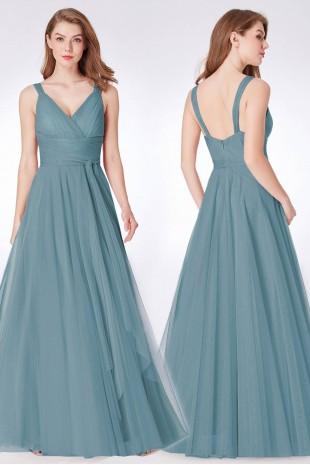 Нежна официална рокля с дълъг тюлен колан в цвят dusty blue (RO99047)