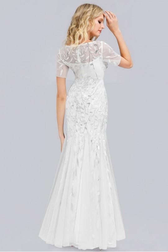 Разкошна официална дълга рокля тип русалка в бяло (RO99061)