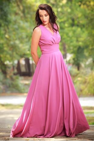 Грациозна дълга официална рокля с V-образно деколте (RO99073)