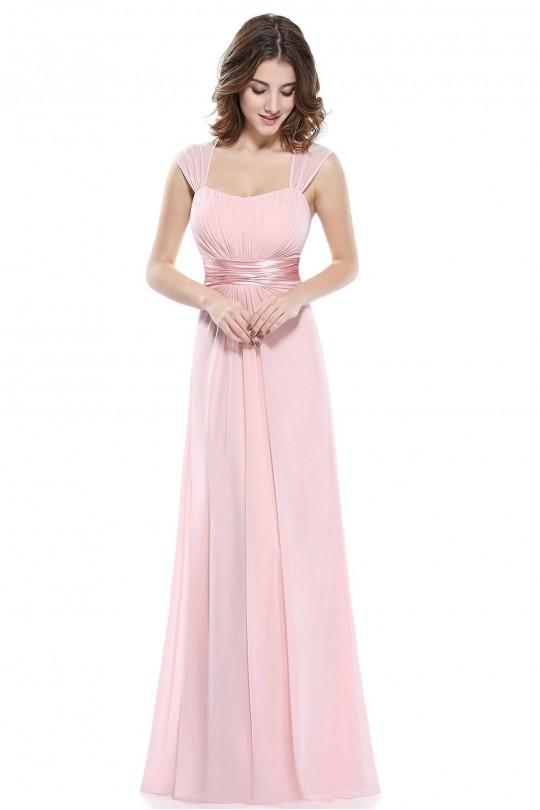 Кокетна дълга официална рокля в розово (RO99078)