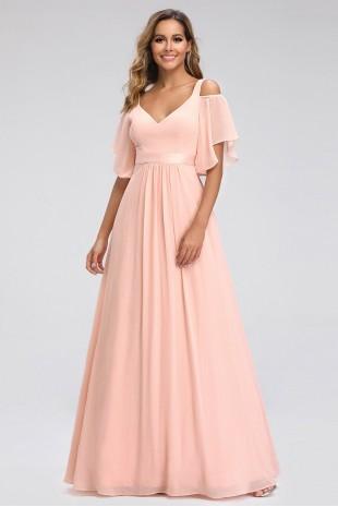 Дълга официална рокля в розово с ефирни къси ръкави (RO99098)