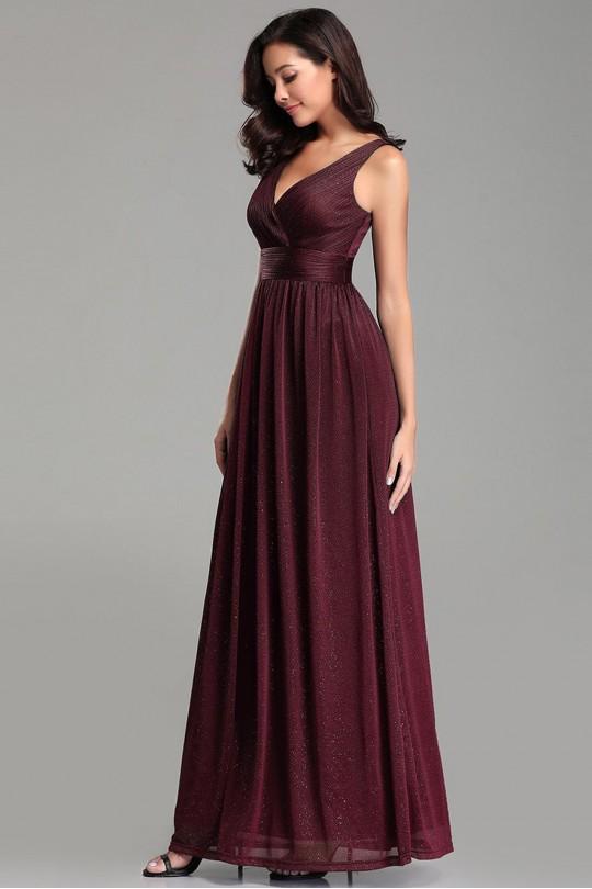 Изящна дълга официална рокля в бордо с V-образно деколте (RO99099)