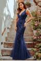 Грациозна дълга официална рокля тип русалка в тъмно синьо с V-образно деколте (RO99101)
