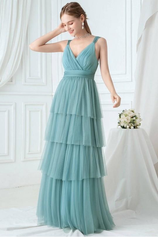 Дълга официална рокля с тюлена стъпаловидна пола (RO99124)