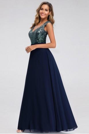 Дълга официална рокля с преливаща горна част в тъмно синьо (RO99125)