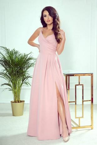 Дълга официална рокля с цепка и тънки презрамки (RO99145)