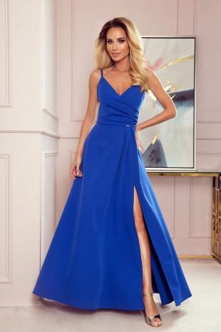 """Дълга официална рокля тип """"прегърни ме"""" с цепка в кралско синьо (RO99147)"""