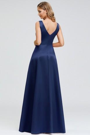 Официална асиметрична рокля в тъмно синьо (RO99159)