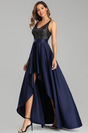 Официална асиметрична рокля с пайетена горна част в тъмно синьо (RO99160)