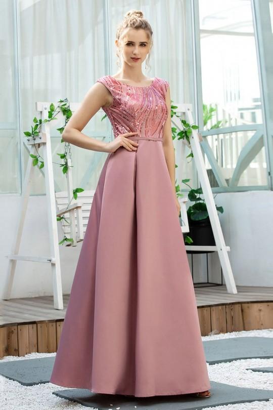 Изящна официална рокля в цвят пепел от рози с пайети в горната част (RO99164)