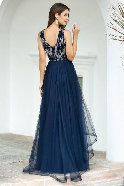 Уникална дълга официална рокля в тъмно синьо (RO99165)