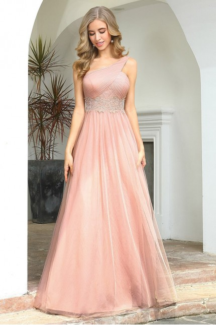 Възхитителна официална рокля в розово с една презрамка (RO99166)