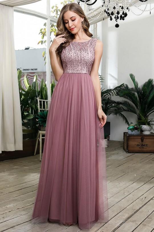 Нежна официална дълга рокля с дантела и тюлена пола (RO99167)