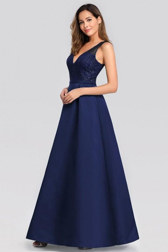 Тъмно синя официална рокля с остро деколте (RO99168)