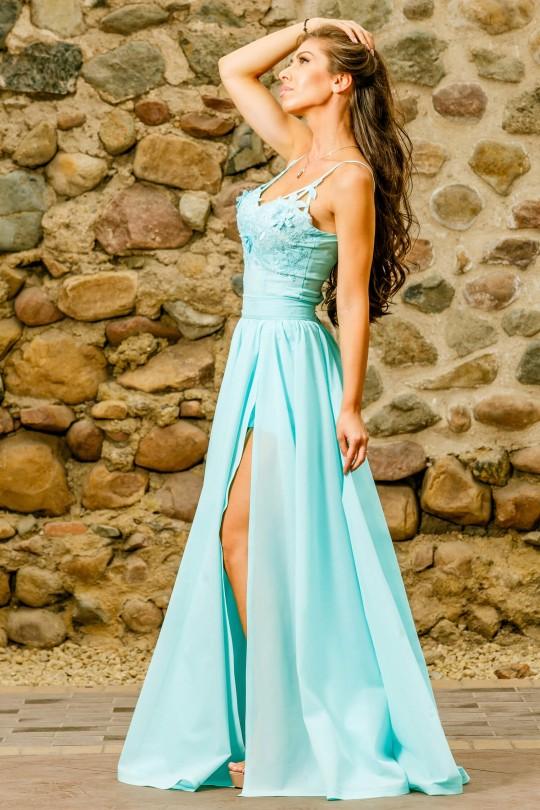 Уникална официална рокля от две части в цвят мента (RO99174)