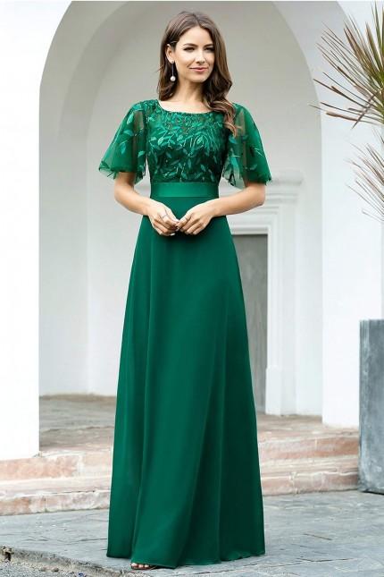 Дълга официална рокля в зелено с късо ръкавче (RO99176)