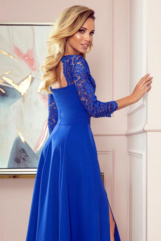 Елегантна официална рокля с 3/4 -ти ръкави в кралско синьо (RO99183)