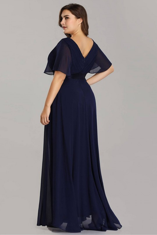 Официална рокля в тъмно синьо с късо ръкавче (RO99184)