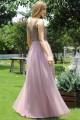 Дълга официална рокля с нежна дантелена горна част в цвят mauve (RO99185)