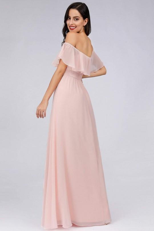 Нежна официална рокля с паднали рамене в светло розово (RO99188)
