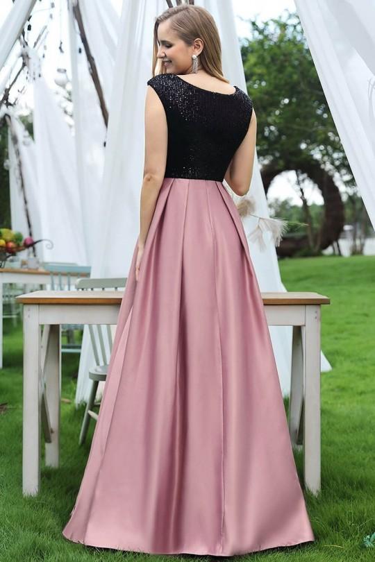 Елегантна официална дълга рокля с черна пайетена горна част (RO99197)