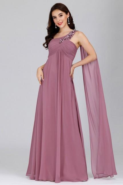 Ефирна официална рокля с една презрамка в цвят пепел от рози (RO99198)