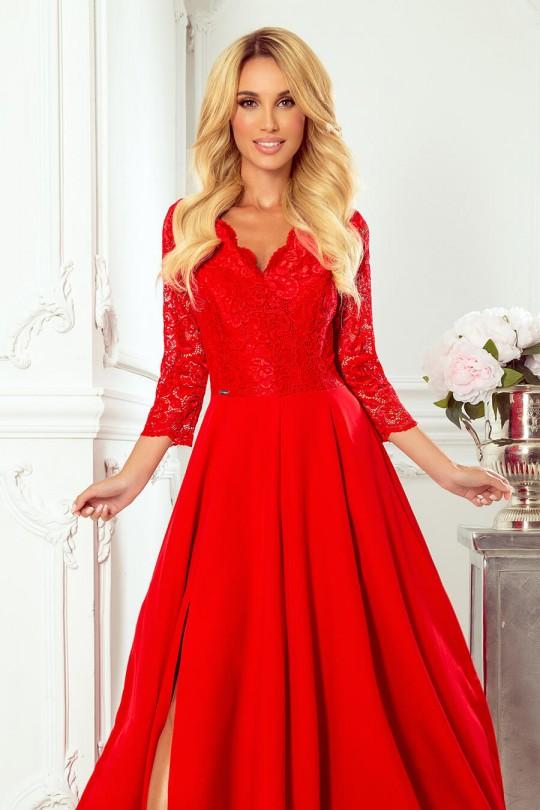 Елегантна официална рокля с 3/4 - ти ти ръкави в червено (RO99199)