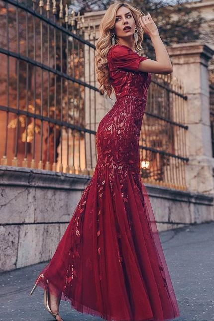 Разкошна официална рокля тип русалка в бордо с късо ръкавче (RO99208)