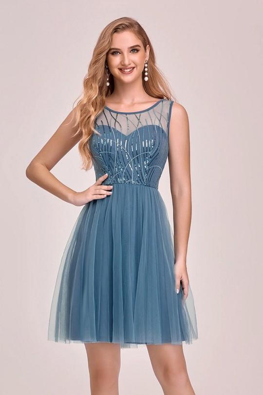 Къса официална рокля с тюлена пола (RO99212)