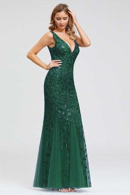 Грациозна дълга официална рокля тип русалка в зелено (RO99242)
