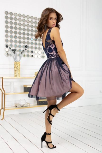 Къса официална разкроена рокля в синьо и розово (RO99259)