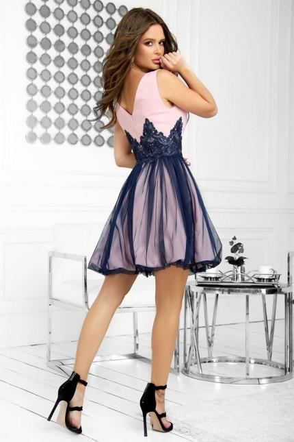 Официална разкроена къса рокля в тъмно синьо и розово (RO99227)