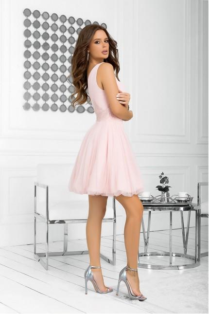 Официална разкроена рокля с тюлена пола в розово (RO99228)