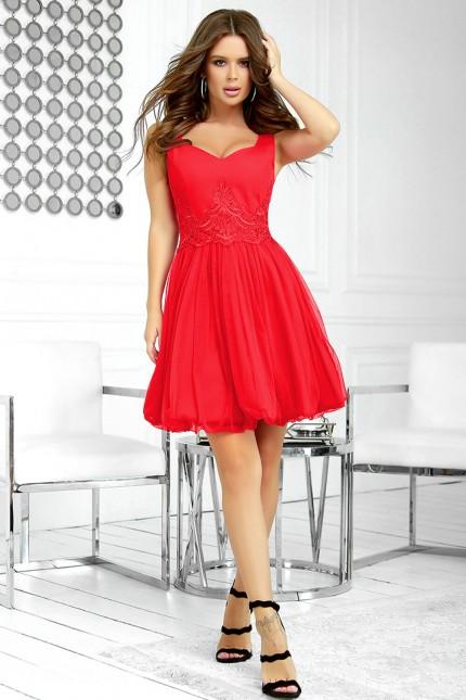 Официална къса рокля с тюлена пола в червено (RO99245)
