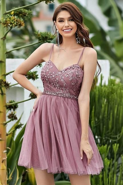 Къса официална рокля с тюлена пола в цвят пепел от рози (RO99273)