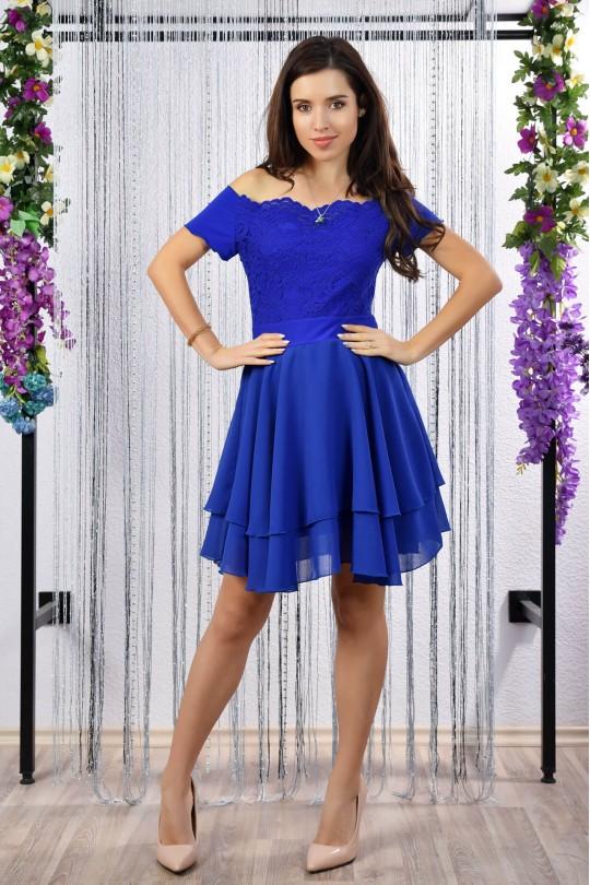 Нежна официална разкроена рокля с дантела в синьо (R9784)