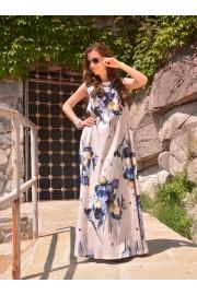Дълга лятна рокля в красив десен на лалета (R9664)