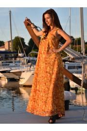 Дълга лятна рокля в слънчево жълто и червено (R9662)