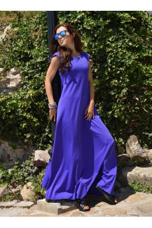 Дълга разкроена рокля в синьо-лилаво (R9661)