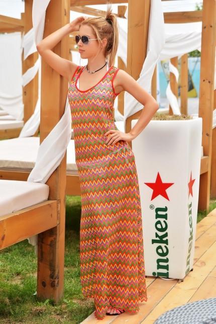 Дълга лятна рокля в изкусителни цветове(R9589)