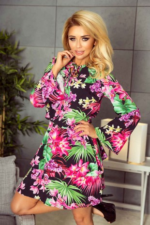 Уникална разкроена рокля с широки ръкави и принт с флорални мотиви (R9649)