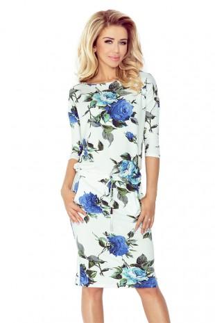 Спортно елегантна ежедневна рокля с флорален принт (R99014)