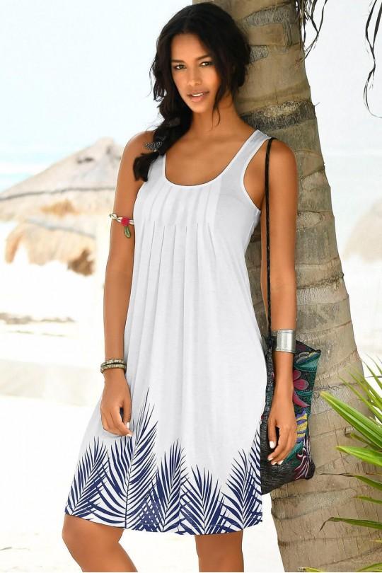 Удобна плажна рокля в бяло и синьо (R99032)